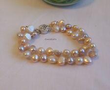 Xmas gift: genuine 7-8mm Baroque multi-colour freshwater pearls bracelet