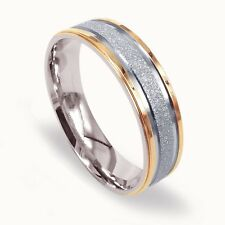 Men Wedding Band Titanium Ring Dome Shape Ring Two Tone Gold and Silver 6mm
