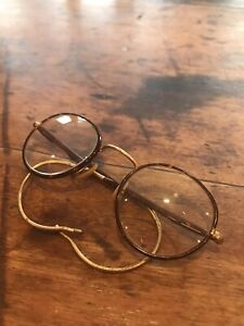 Antique Vintage Spectacles Glasses Tortoiseshell Gold Bridge in original case