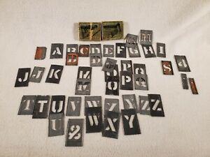 "(44) Vintage Reese's Adjustable 3"" Brass Stencils Lockedge Letters Numbers"