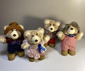 "Wendys Furskins  Vintage 1986  7"" Bears Lot Of 4 Dudley Farrell Boone Hattie"