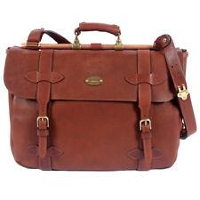 Brown Leather Book Bag Laptop Briefcase Messenger Bag Adjust Strap No. 83 USA