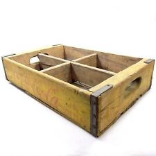Vintage Coca Cola Wooden Coke Crate Soda Case 4 Slots Holder Carrier Yellow 1969
