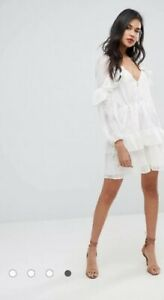 STEVIE MAY Sz S Embroidered Mini Dress In White/Cream