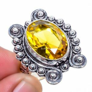 Aaa+++ Citrine Gemstone 925 Sterling Silver Jewelry Ring s.8 M2226