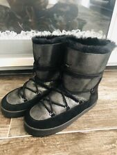 Womens Snow Boots Black Winter Fur Waterproof Sparkly Shoes 6.5