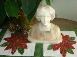 Circa 1930 Art Deco Italian Alabaster/ Marble Bust of a Women w/Laurel Wreath