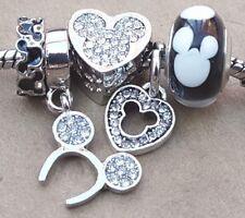 Disney Crystal Mickey Heart Ears Headband Mouse Murano Glass Bead European Charm