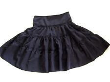 EGL Gothic Lolita Punk Black Tiered Flared Flounce Full Knee Gypsy Skirt 10 - 12