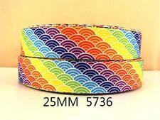 2 Yards 183cm Scalloped Rainbow Grosgrain Ribbon 1 Inch Hair Bows Gift