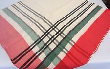 Vintage 40's Red Green Black & Cream Plaid Border Cotton Rayon Tablecloth 50 In