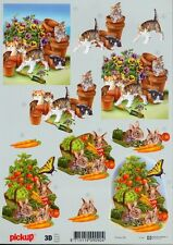 Feuille 3D à découper A4 - Pickup-062 Chat Lapin - Decoupage Cat Rabbit