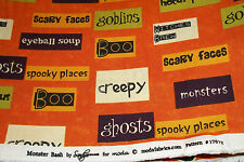 Moda Monster Bash by Sandy Gervais Orange Script Halloween Fabric 17672-12