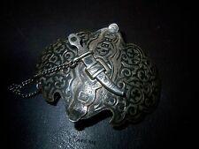 Gürtelschließe Silber Handarbeit Niello Tula Silber-Verschluss mit keinem Dolch