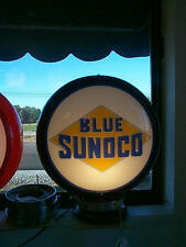 gas pump globe SUNOCO BLUE & LIGHT STAND NEW repro. 2 GLASS LENS