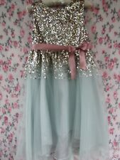 Pale Green Gold Flower Girl Bridesmaid Party Occasion Dress 9-10 MONSOON £65