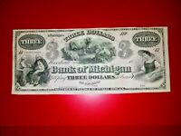 1800's $3 Bank of Michigan@ Marshall~with Advertising~ MI265-64~19-C200~Pristine