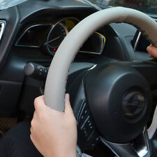 38cm / 15'' Gray Car Auto Steering Wheel Cover DIY Leather w/ Needle Thread