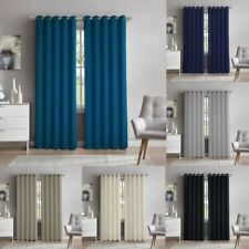 Corduroy Effect Curtains Pair Unlined Eyelet Ring Top Ready Made Polycotton