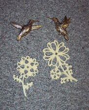 Vintage Homco Wall Art Dart Hanging Flower Plaques & 2 Gold Hummingbirds GUC