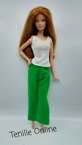 New Barbie clothes outfit casual white top and green pants jammies