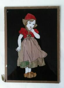 Vintage Glass Foil Picture Dutch Girl in Cloggs Traditional Dress 1946 M-CModern