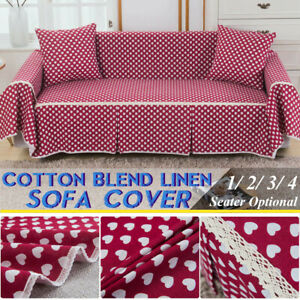 1/2/3/4 Seat Sofa Cover Slipcover Cotton Blend Pet Dog Couch Furniture