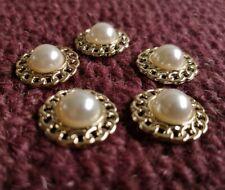 5 PCS 19.5mm Faux Pearl Gold Colour Metal Shank Button Sewing Craft Trim BT0022