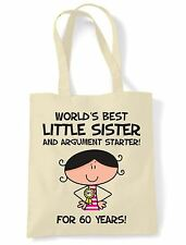 World Best Little Sister 60th Birthday Present Shoulder ToteBag - Gifts For Her