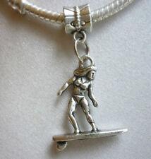 1 x Surf Board Rider Tibetan Silver Dangle Charm suit European Bracelet Necklace