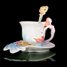1 Cup 1 Saucer 1 Spoon Gorgeous Porcelain Handmade Mermaid Coffee Set Tea