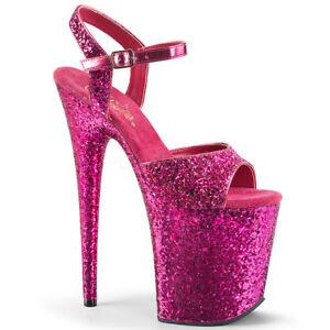"""AU STOCK Pleaser Flamingo-810LG Hot Pink Glitter Pole Dancer 8"""" Platform Heels"""