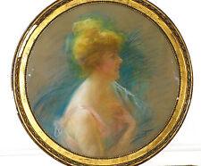 Original Lavrut Louise Portrait Pastel fin 19ème début 20ème