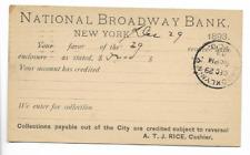 1893-POSTAL CARD-BANK DEPOSIT RECEIPT-NATIONAL BROADWAY BANK-NEW YORK, NY