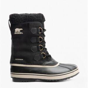 Sorel 1969 PAC NYLON Mens Nylon Waterproof Lace-Up Boots Black/Ancient Fossil