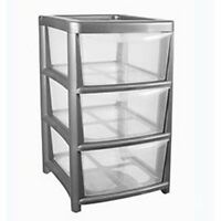 Plastic Storage 3 Drawer Mini Tower Plastic Storage Clear Craft Stationary A5