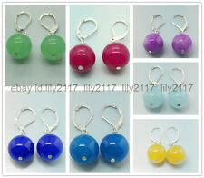 Wholesale 7 pairsof multi-color  Handmade 12mm Jade Round Beads Silver earrings