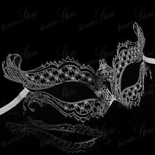 Women Vampire Diaries Inspired Laser Cut Venetian Metal Masquerade Mask [Silver]