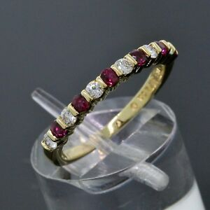Tiffany & Co. 18K Yellow Gold Diamond Red Ruby 2.5mm Stack Band Ring Size 6