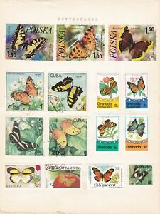 15 Butterfly and Moth Themed Post Stamps from different countries