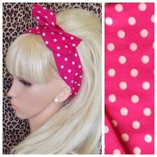 CERISE PINK WHITE POLKA DOT BENDY WIRE HAIR SCARF BOW HEADBAND WIRED 50s RETRO