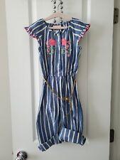 Girls Little Lass, Blue Striped Jumper Set, Size 5, pre-owned, EUC
