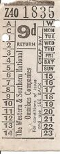 Bell Punch Ticket - The Western & Southern National Omnibus Co.'s. - 9d. Return