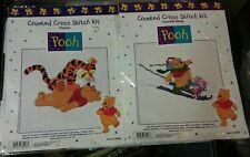 Disney Winnie the Pooh Counted Cross Stitch Kit Lot of 2 Skiing & Pounce NIP