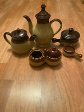 Brown Stripe Crock Type Vintage Teapot Set Brown And Tan!