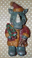 Folk Art  Rhino Rhinoceros Santa Claus Ornament New Vintage Whimsical Style