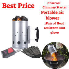 Set Fireplace Accessories Chimney Starter Bbq Charcoal Grill Quick Rapid Fire