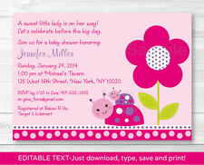 Ladybug Pink Purple Flower Garden Printable Baby Shower Invitation Editable PDF