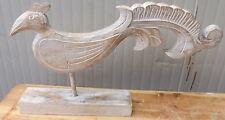Gallo scultura stilizzata in legno color bianco decapato cm 50 l statua Gallina
