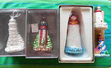 Lot of 5 New with Tags Hand Blown Glass Lighthouse Ornaments!